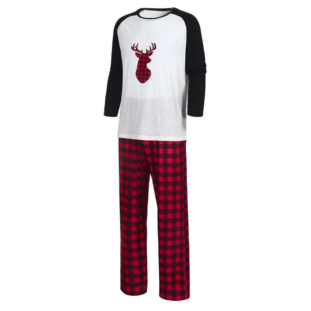 Men Pajamas Sets Christmas Plaid Blouse Pants Cotton Round Neck Daddy Nightclothes Family Sleepwear Matching Daily Loose Pyjamas