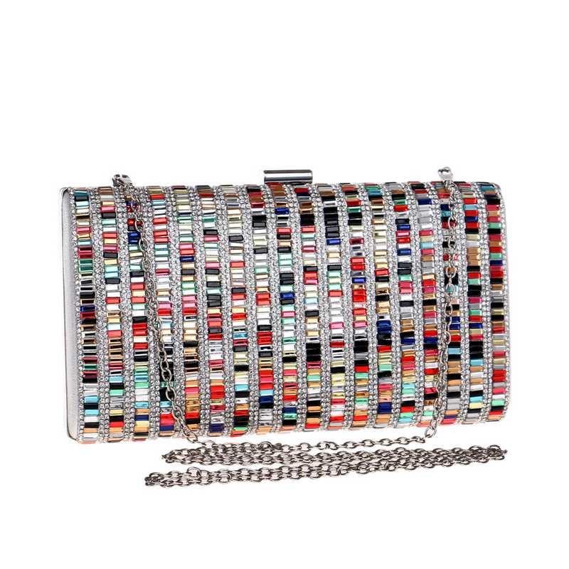 SEKUSA Acrylic Candy Color Clutch Bag Lady Party Wedding Evening Bag Shoulder Chain Purse Handbags For 2017 Women Evening Bags