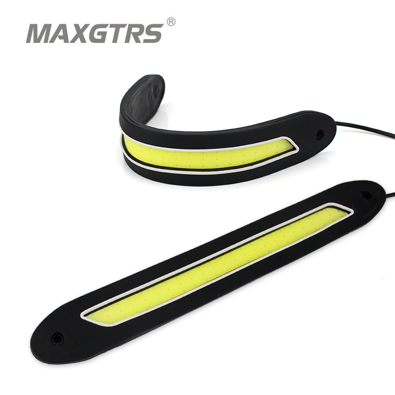 2x Flexible COB LED DRL Can 360 Degree Bending Car Styling Daytime Running Light Source Head Lamp White Fog Lamps