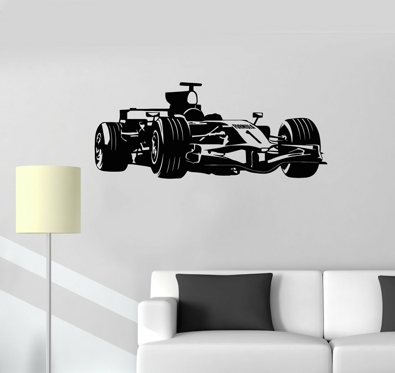 Vinyl decals Formula One racing garage decorated childrens room wall stickers, living decoration, QC20
