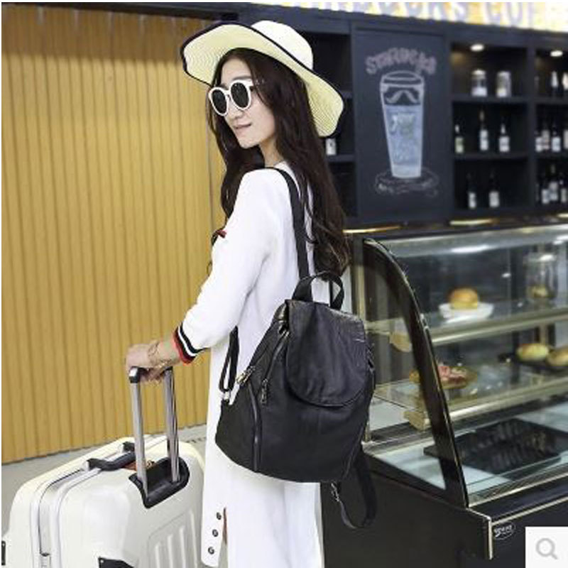 Classic Temperament Star Genuine Leather leather backpack New College Wind Travel Bag Fashion Suture Zipper Trend Schoolbag 247 classic leather