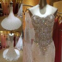 Реальные фотографии с украшениями в виде кристаллов beadeds роскошное свадебное платье Русалка с длинным шлейфом для девочек видеть через кор