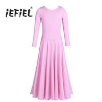 IEFiEL New Girls Long Sleeves Round Neckline Loose Fit Ballet Dance Ankle Length Dress Professional Ballet
