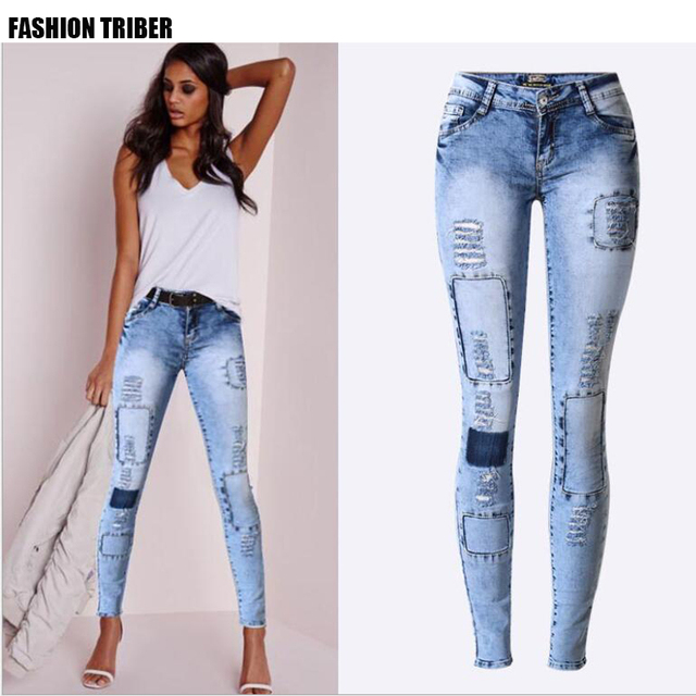5c35a5b251401c Popular in Europe and America Slim pencil pants stretch denim pants feet  was thin multi-hole hole patch tide models big size