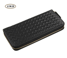 J.M.D Hot Selling Genuine Leather Weave Pattern Mens Fashion Wallet Money Card Holder Cell Phone Pocket Clutch Bag 8067A/C