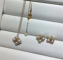 jewelry gemstone factory wholesale fashionable 14k gold natural white pearl earring necklace set for female