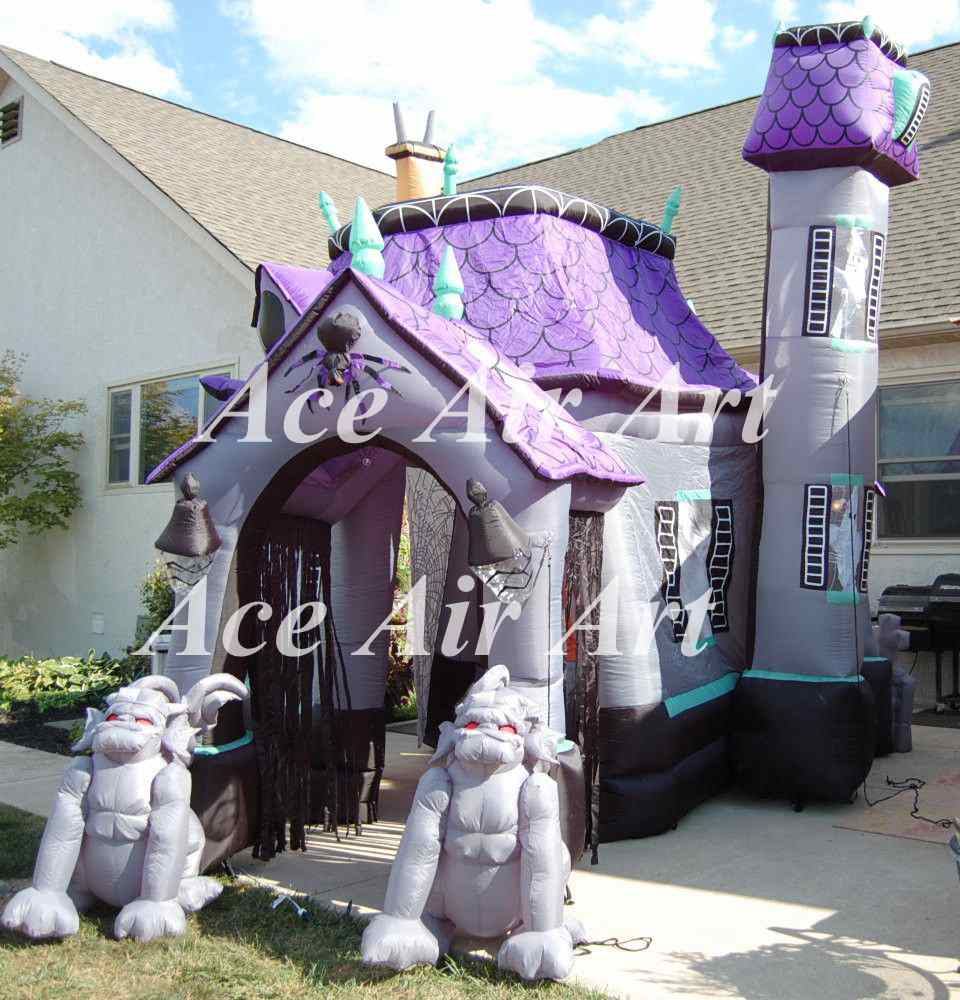 Factory best selling commercial halloween inflatable haunted house for yard decoration