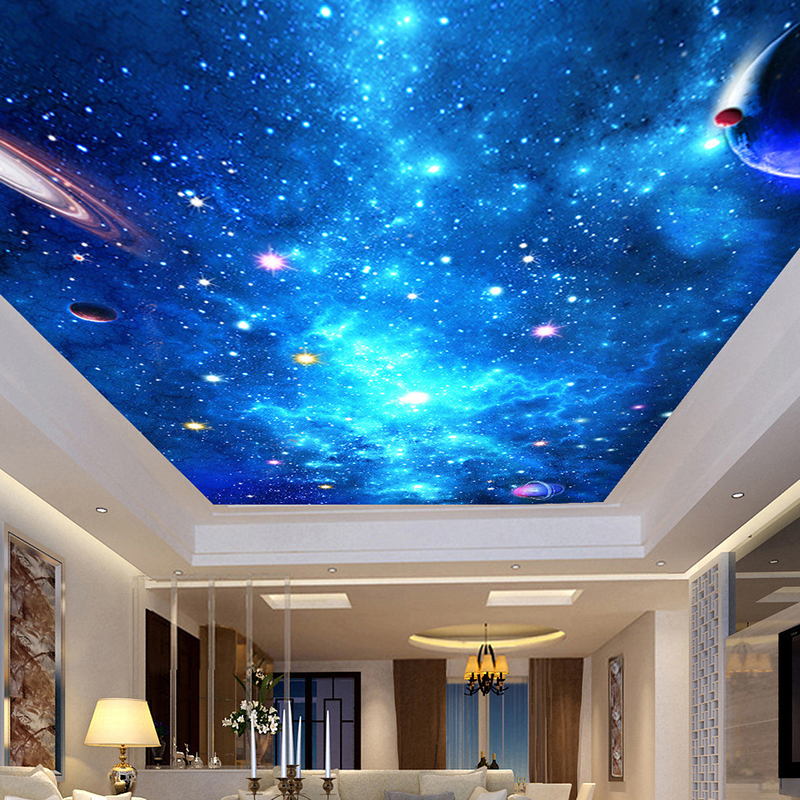 Custom 3D Photo Wallpaper Ceiling Mural Living Room Bedroom Bar Ceiling Background Wall Decor Wallpapers Home Galaxy Starry Sky