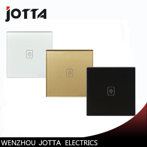 Touch Switch Screen Crystal Glass Panel Switches UK Wall Light Switch 1 Gang 2Way For LED lamp Gold/Black/White 3gang1way uk wall light switches ac110v 250v touch remote switch