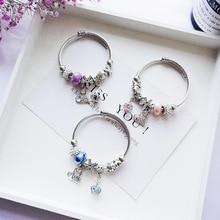 цена на Ethnic Crown Letters Pendant Charms Chain Bracelet Rhinestone Stainless Cuff Bracelet Women