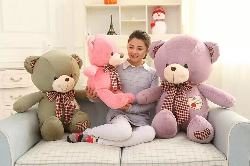 1PCS 60cm 3 Colors Cute Soft Stuffed Animal Tie Teddy Bear Plush Toy Doll The Wedding Gift Rag Doll Children's Gift stuffed animal 120cm light brown cute teddy bear plush toy soft doll gift w1659