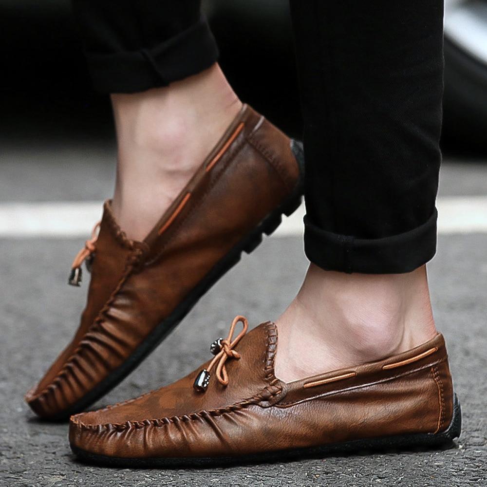 Respirant Nouveau Black Qffaz En Sur Slip blue Conduite brown Chaussures Cuir Mocassins Falts De Casual Hommes 2019 7xRxwfq56