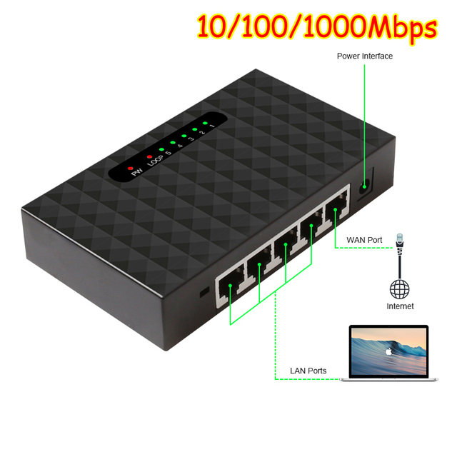 5 포트 기가비트 네트워크 스위치 데스크탑 스위치 10/100/1000 mbps 패스트 이더넷 네트워크 스위처 lan full/half duplex exchange