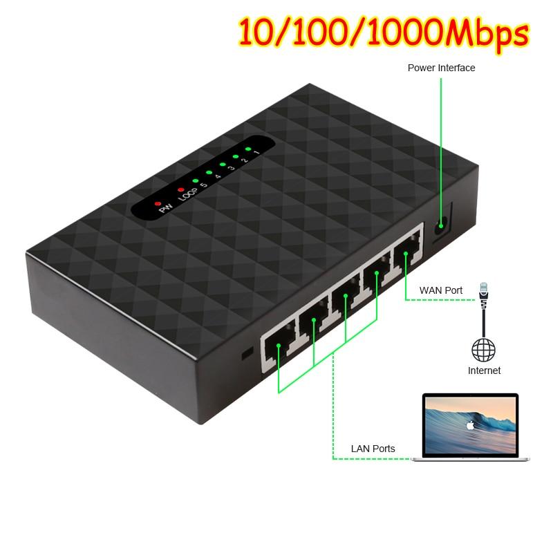 Netzwerk Switchs 5 Port Gigabit Desktop Switch 10/100/100 0 Mbps Fast Ethernet Netzwerk Schalter LAN Volle /halb duplex Austausch