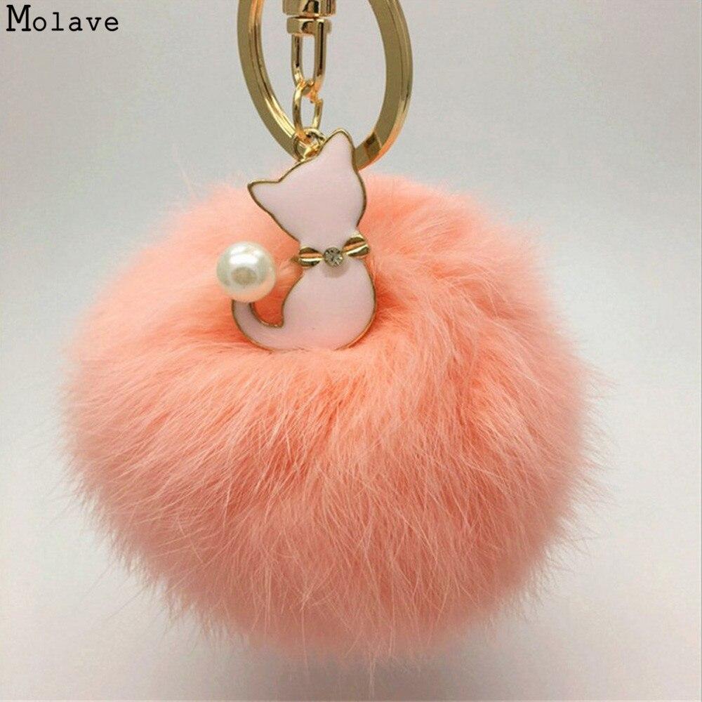 Pom Pom Fur Key Chain Fashion Fluffy Fur Ball Car Key Pental Cat Pear Rabbit Fur Ball Fox Keychain Bag Plush Car Key Ring se203
