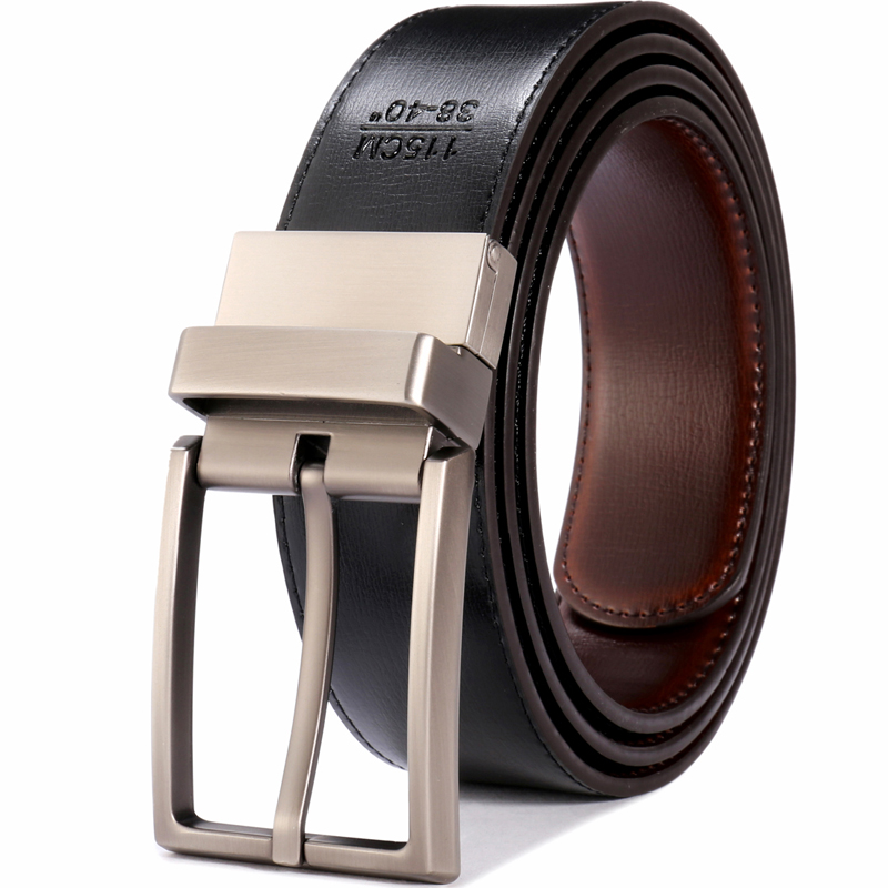 Image 3 - Men's Genuine Leather Belt Reversible Buckle Belts For Men Luxury Strap Male Waistband Rotated Buckle Dress Belt 75cm to 160cm-in Men's Belts from Apparel Accessories on AliExpress