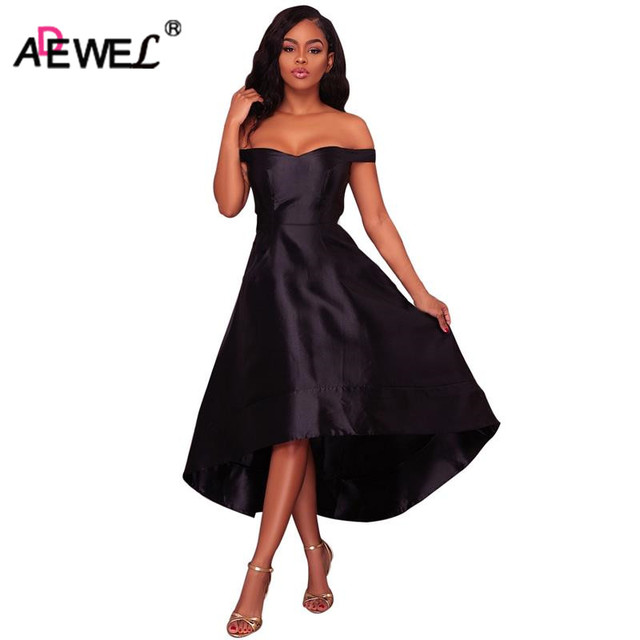 15460b8803 ADEWEL Women Party Off Shoulder Long Dresses High Low Skater Dress Female  Sexy Slash Neck Midi