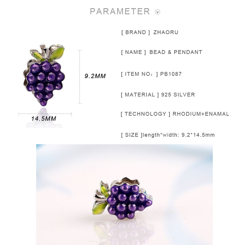 Zhaoru 925 Sterling Silver Enamal Pendant Charm Fit Bracelet Bangle Necklace DIY Fine Jewelry Silver Grape Bead in Pendants from Jewelry Accessories