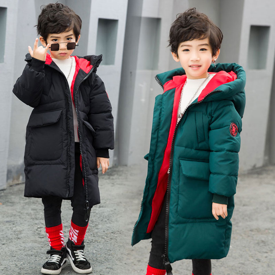 Teenage Boy Parka Coats 2018 New Winter Children Hooded Long Cotton Thicken Jackets Coats Kids Warm Overcoats ClothingTeenage Boy Parka Coats 2018 New Winter Children Hooded Long Cotton Thicken Jackets Coats Kids Warm Overcoats Clothing