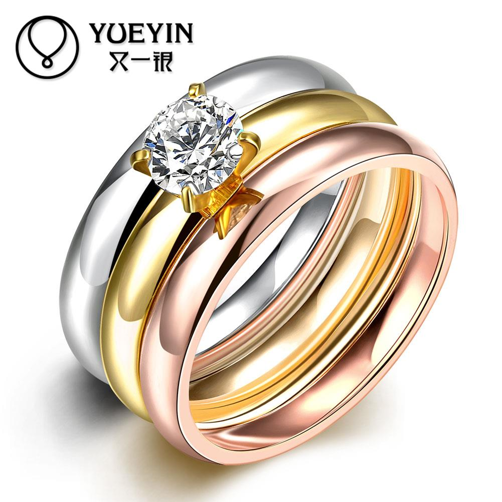 R030a8 Fashion Titanium Steel Ring Three Different Colors Rings For Women  And