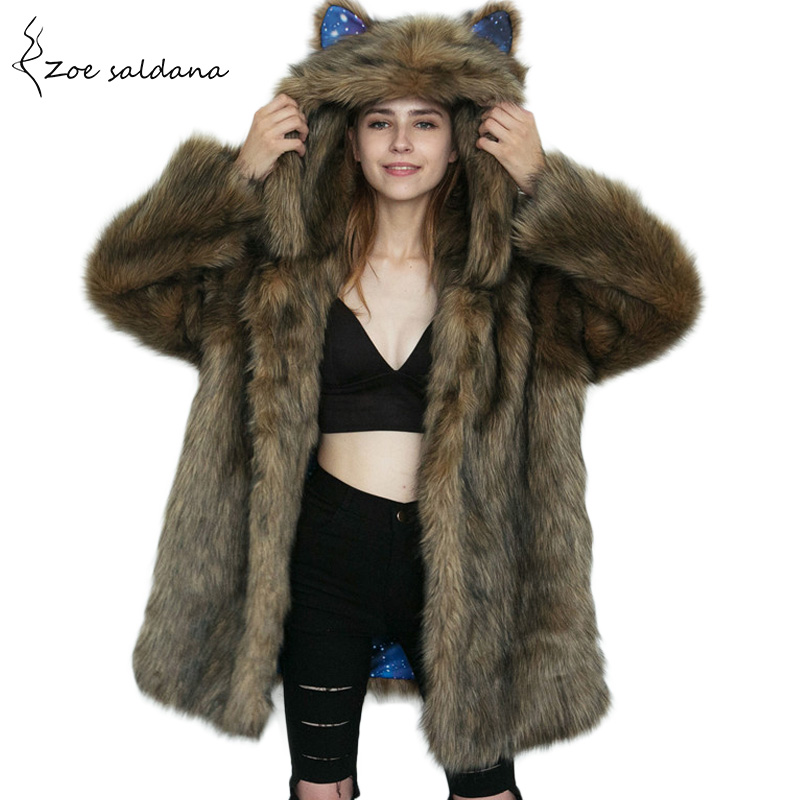 Zoe Saldana 2017 Winter Coat for Women Fashion Hooded Faux Fur Coat Medium Long Imitation Cute Eara Fur Jacket zoe saldana 2017 women thick parkas long winter jacket real fur hooded