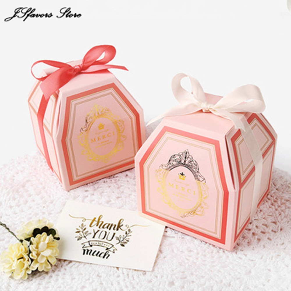 Wholesale 50pcs Upscale ribbon white card wedding favor gift box ...
