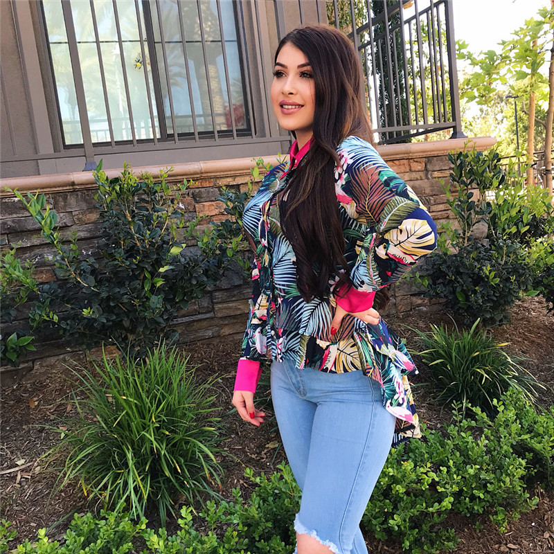 2018 Summer New Women Plus Size Chic Holiday Tops Long Sleeve Ruffled Floral Printed Shirts High Low Asymmetrical Fashion Blouse