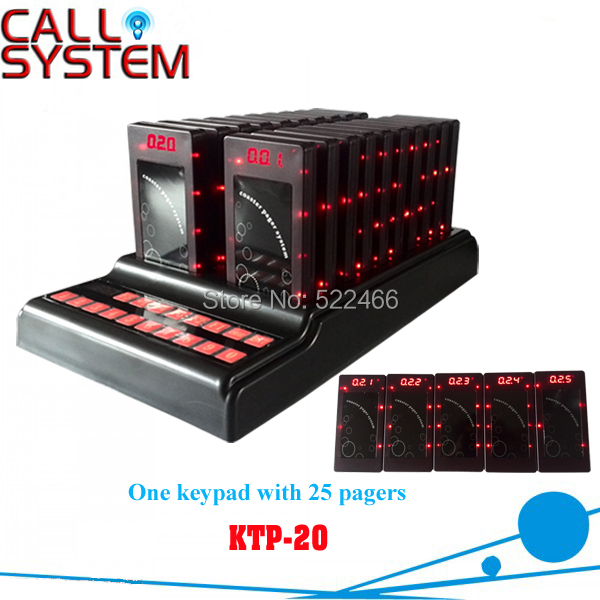 New restaurant wireless paging system guest pager 1 keypad with charger and 25pcs buzzer(sound/flash/vibration) digital restaurant pager system 1 monitor with 15pcs table buzzer button wireless equipment with ce