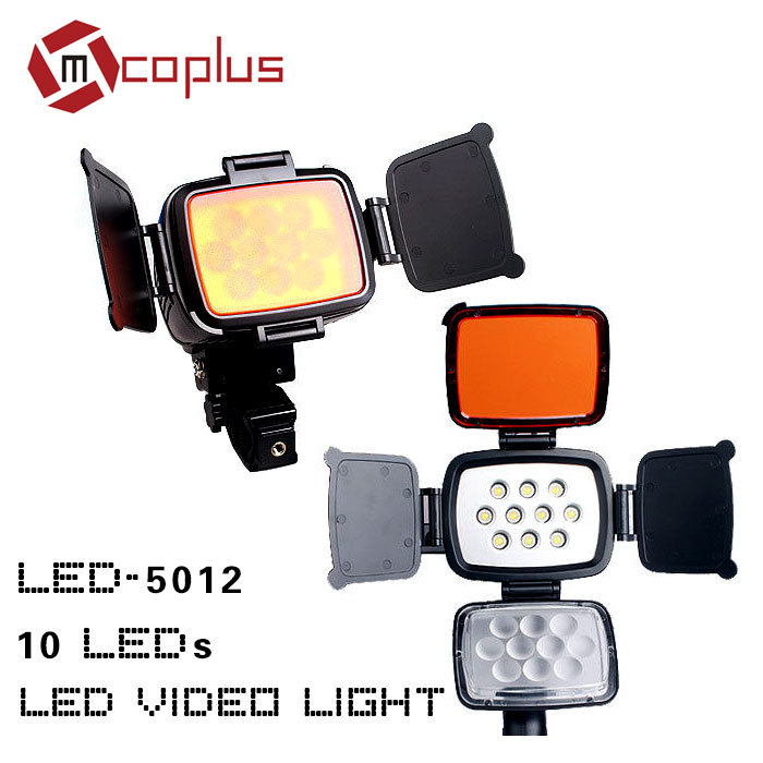 10 LEDs LED-5012 Video Light 5500-6500K for Canon/Nikon/Sony DV Camera Camcorder Lamp + Battery + Charger godox led 308y 308 leds professional led video 3300k light with remote control for canon nikon camera dv camcorder