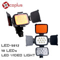 10 LEDs LED-5012 Video Light 5500-6500K for Canon/Nikon/Sony DV Camera Camcorder Lamp + Battery + Charger