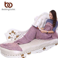 Beddingoutlet sirena throw blanket manta hecha a mano de cola de sirena para el cabrito adulto multi colores 3 tamaño suave manta de ganchillo sirena