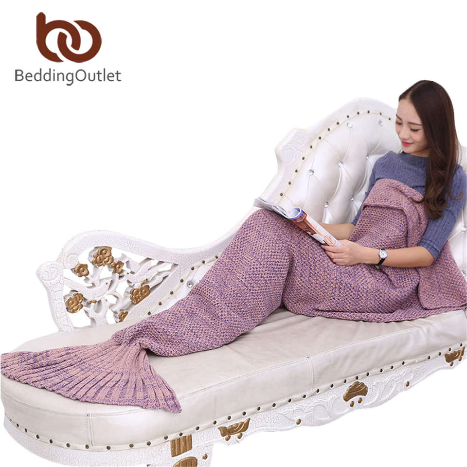 BeddingOutlet Mermaid Throw Blanket Handmade Mermaid Tail Blanket for Adult Kid Multi Colors 3 Size Soft Crochet Mermaid Blanket