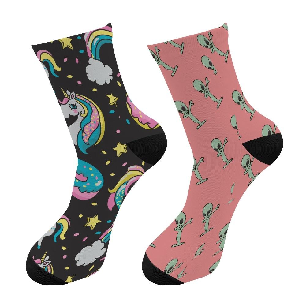 Crazy Fun Cool 3D Print Unicorn Colorful Long   Socks   Men Alien Funny Crew Sport   Socks   Novelty Women Tube Kawaii Pink   Socks