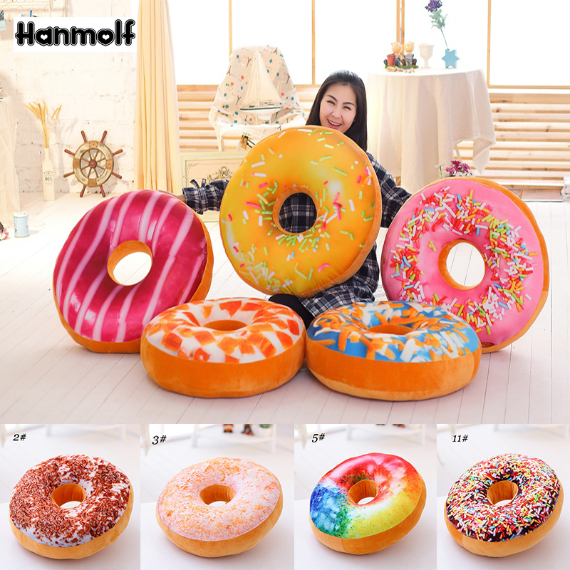3d Donut Pillow Soft Cosy Seat Back Stuffed Cushion Doughnut Throw Pillow Plush Toy For Home Decor 40cm Soft And Antislippery tiramisu