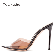 Trendy Sexy Heeled Ladies Pointed Open Toe Slip on Party Stiletto High Heel  Clear Mule Slides 9f5f7fff63cc