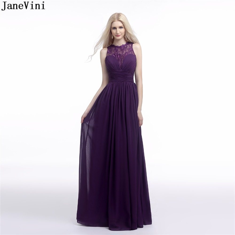 JaneVini 2019 Simple Grape Purple Chiffon Long   Bridesmaid     Dresses   Lace O Neck Zipper Back Floor Length A Line Formal Party Gowns