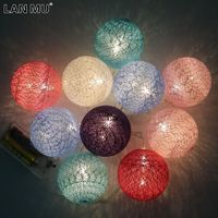 LAN MU Battery Operated Cotton Balls String Led Lights Garden Fairy Lights Christmas Outdoor Lighting Party