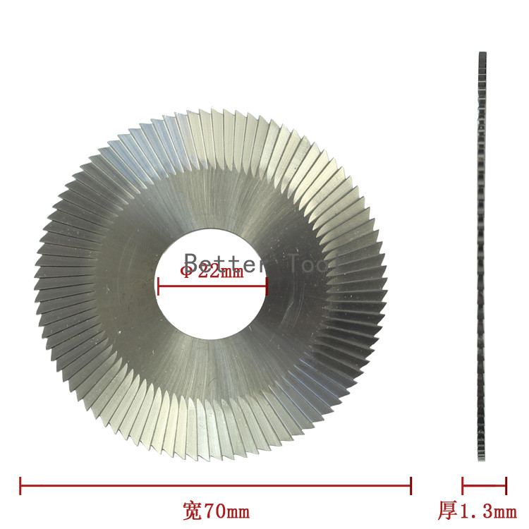 Raise key cutting machines replacement 0022# flat slotter yellow color 70x1.3x22 milling cutter for WENXING 100B