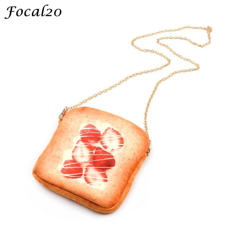 Focal20 Cute Women Simulation Bread Shape Messenger Bag Food Print Crossbody Handbag Metal Mini Chain Shoulder Bag gartt lt 2206 2400kv cw