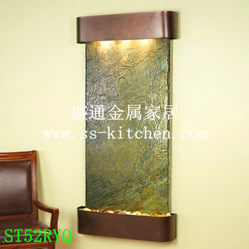 Wall water fountain with painted metal frame and featherstone water panel/water wall/wall fountain/water features decoration image