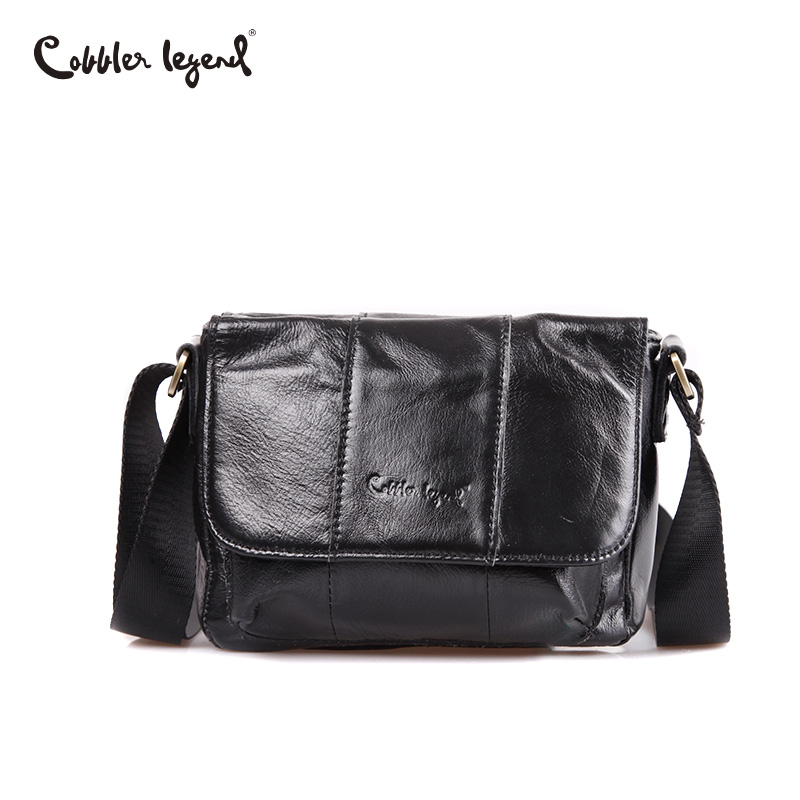 Cobbler Legend Men Bag Genuine Leather Man New Crossbody Shoulder Bag Male Messenger Leather Bags Small Business Bags Black