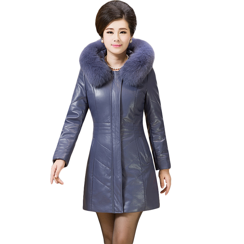6XL Plus Size Leather Jacket 2016 Winter Thicken Slim Fur Collar Cotton Coat Long Solid Color Leather Padded Outerwear SS880