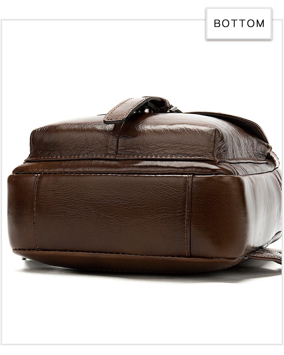 17 Men's Bag Leather Sling Bag Caual Men's Shoulder Bag Vintage Crossbody Bags for Men with Headphone Hole Travel Chest Pack