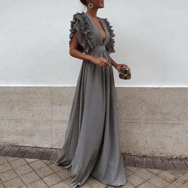 7b9e138abef8 2018 New Fashion Women Dress Sexy Gray V Neck Backless Flying Short Sleeves  Maxi Dress Summer Solid Beach Party Long Dress