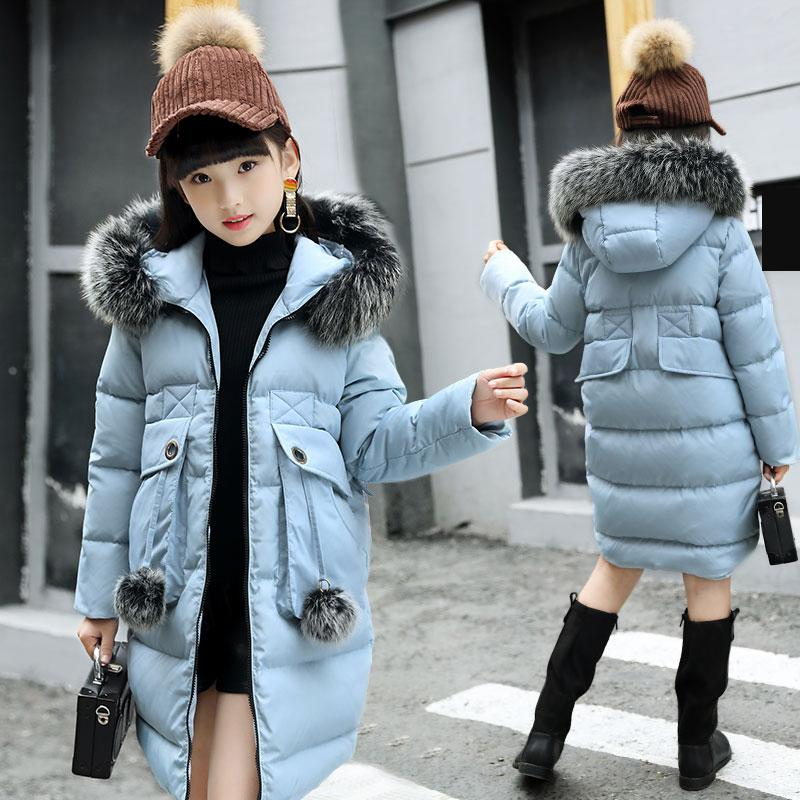 Girl Winter Jacket Parkas Duck Down Jacket Kids Thick Warm Big Girls Winter Jackets with Fur Coats Teenage Girl Clothing -35 цена