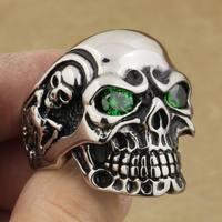 316L Нержавеющаясталь круглый зеленый CZ Средства ухода для век Titan череп кольцо Для мужчин Байкер Стиль 3a701a