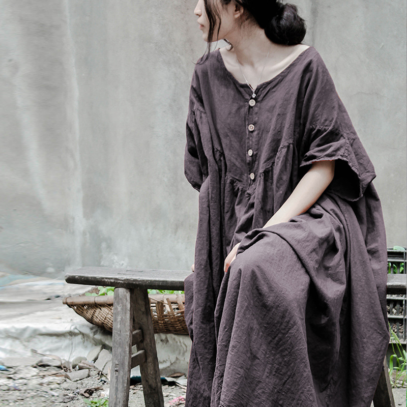 SCUWLINEN 2019 Women Summer Dress Original Design Vintage Plus Size Loose Batwing-sleeve Linen Dress Long Robe Vestidos J032301
