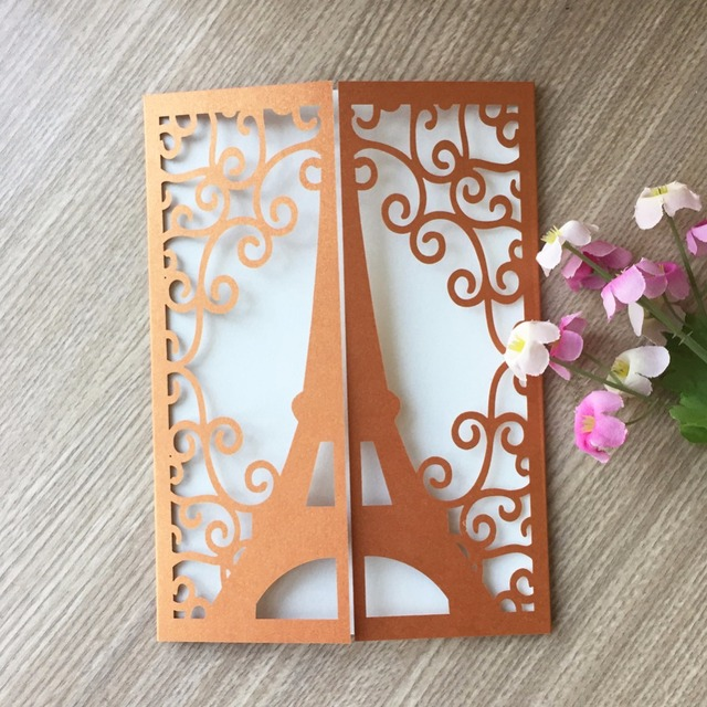 50pcs Laser Cut Glossy Paper Tower Pattern Happy Birthday Wedding Invitation Decorative Favor Gift Card