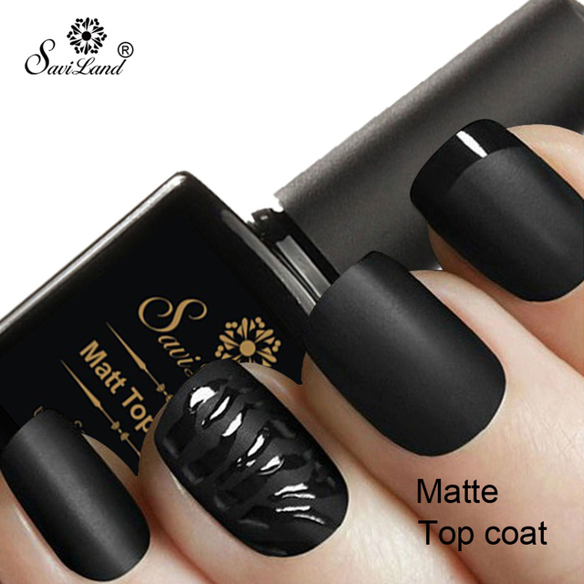 Saviland 1pcs Matte Top Coat Nail Gel Polish Matt Uv Led Gel Lacquer Nail Salon Finish Nail Gel Need Base Coat 10ml