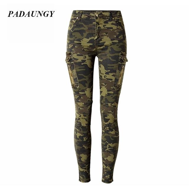7faf7e761e568 PADAUNGY Camouflage Pencil Jeans Army Miltary Denim Pants Women Skinny  Trousers Slim Fit Jeggings Jardineira Feminina Jegging